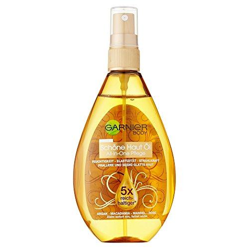 Garnier Oil Beauty Schöne Haut Öl, für gepflegte, seidig weiche Haut, mit 4 Beauty-Ölen aus Argan, Macadamia, Mandel und Rose, 150 ml