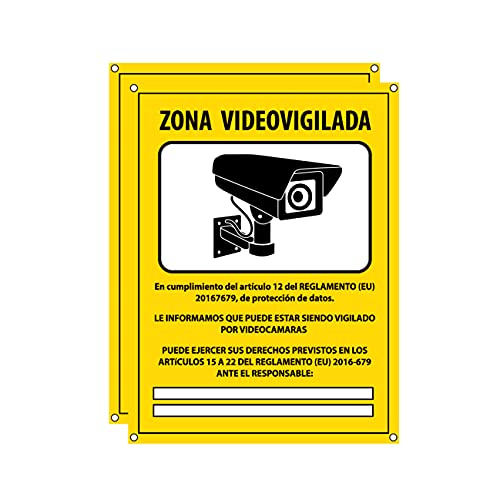 Cartel videovigilancia - Placa zona videovigilada – Carteles cámara vigilancia 20x15 cm - Amarillo Interior-Exterior - PVC (2 Piezas Cartel Videovigilancia)