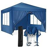 HOTEEL Partyzelt 3x3m Wasserdicht Festzelt Pavillon Gartenzelt Bierzelt with 4 Seitenteilen for Garten Party Hochzeit (3x3 mit 4 Seitenteilen, Blau)