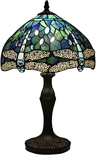 Lámparas Tiffany Naranja azul manchado y corona de cristal Libélula estilo lámpara de mesa altura 18 pulgadas para mesa de café sala de estar escritorio antiguo al lado de la habitación