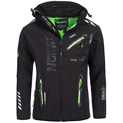 Geographical Norway Softshelljacke Herren/Damen Regenjacke Softshell Jacke Outdoor ROYAUTE/REVEUSE, Größe:L;Farbe:Royaute - Schwarz - Herren