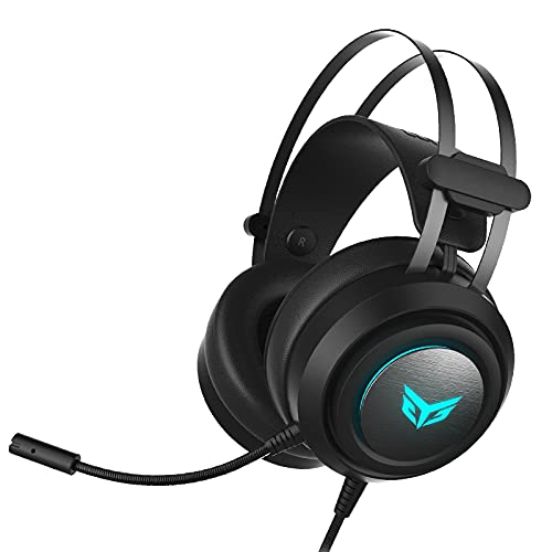gaming headsets for p cs G30 USB Gaming Headset for PC & PS4 & PS5 Wired Noise Cancelling Gamer Headphone with Microphone, Virtual 7.1 Stereo Surround Sound and RGB Light, for Best & Top Audio-Comptuer Games