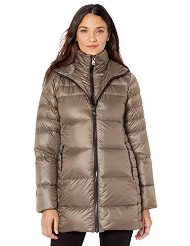 Vince Camuto Damen Warm and Lightweight Down Winter Jacket Coat Daunenmantel, Taupe, Medium