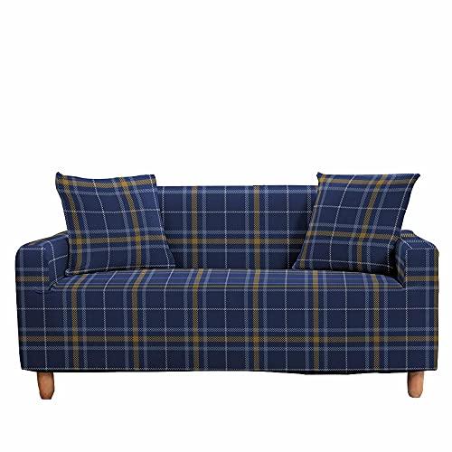 FANSU Funda de Sofá Elástica para Sofá de 1 2 3 4 Plazas,Ajustable Estampado Cuadros Moda 3D Cubre Sofa con 1 Funda Cojín,Antisuciedad Antideslizante Protector de Muebles (Azul Profundo,3 plazas)
