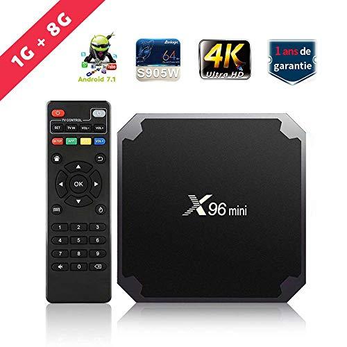 TV Box SUNNZO X96 Mini Android 7.1 4K Mini/Dispositivo streaming per TV con Amlogic S905W 64 Bit 1GB+8GB eMMC, Wifi, H.265 (1+8GB)
