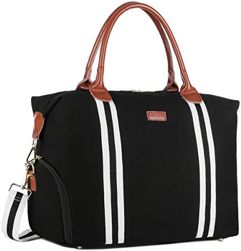 BAOSHA Canvas Leather Travel tote Weekender Bag Overnight Carry on Bag With Shoe Compartment product image