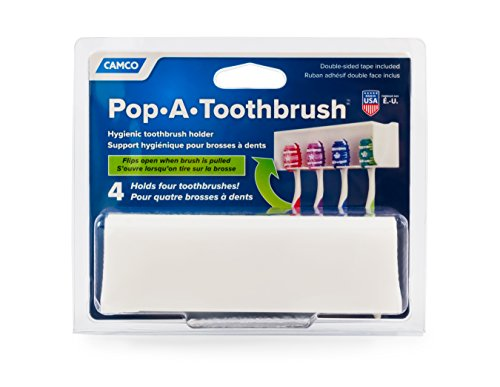 Camco A Pop-A-Toothbrush Wall Mounted Holder With Germ Protecting Cover, Perfect For Traveling, Dorm Bathrooms and More, Holds 4 Toothbrushes- (White) (57204)