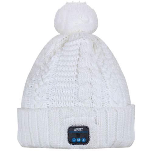 August, EPA20, Bluetooth muts, winterbeanie met Bluetooth stereo hoofdtelefoon, microfoon, handsfree bellen en geïntegreerde accu, voor dames, heren, kinderen, unisex, eenheidsmaat, kleur: