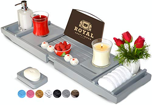 Royal Craft Wood Luxury Bamboo Bathtub Caddy Tray with Book and Wine Holder - One or Two Person Bath...