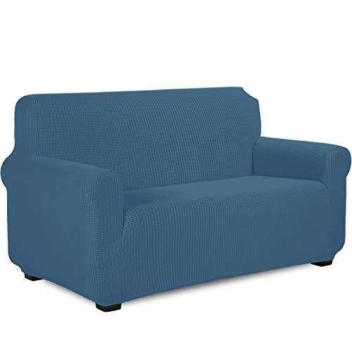 TIANSHU Sofabezug 2 sitzer,Stretch Spandex Couchbezug Sesselbezug Elastischer Antirutsch Stretchhusse Weich Stoff,Jacquard-Stretch-Sofabezug,Schonbezug für Sofa-Sofahalter(2 Sitzer,Denim Blau)