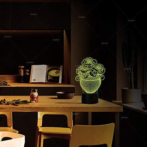 Kreative 3D Stereo Lampe Ballett Mädchen Geburtstag Geschenk Schlafzimmer Nachttisch Dekoriert mit 7 Farbigen Lampen, Kaffeekanne