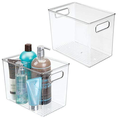 mDesign Set da 2 Contenitori da bagno con maniglie – Capiente organizer per il bagno per lavandini, mobili e mensole – Cesto per il bagno in plastica per sapone, lozioni, shampoo, ecc. – trasparente