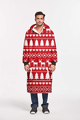 ZHUANYIYI Hässliche Weihnachtsfamilie Pyjamas Männer und Frauen Paare Langer Pullover TV Casual Hoodie Decke 3D-Druck Sherpa Decke Loose One Size 160 * 110CM (Color : 6)