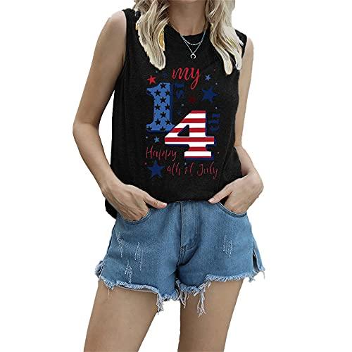 """Mayntop Camiseta de manga corta para mujer con diseño de bandera de Estados Unidos con texto en inglés """"God Bless"""" para el 4 de julio, B-negro, 44"""