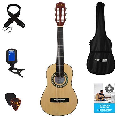 Stretton Payne Konzertgitarre für Kinder, Klassisches Gitarrenpaket, 1/4 Größe (31 Zoll), Alter 3 bis 6, Klassische Nylonsaiten-Kindergitarre im Paket, Natur