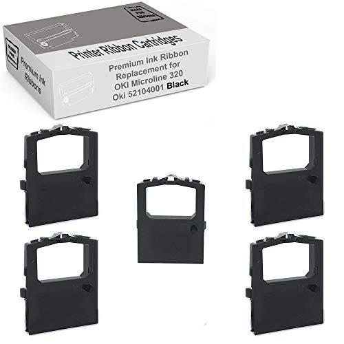 MARS POS Ribbons Compatible with Okidata Microline 320 Turbo Ribbon Oki 52104001 Black 5 Pack