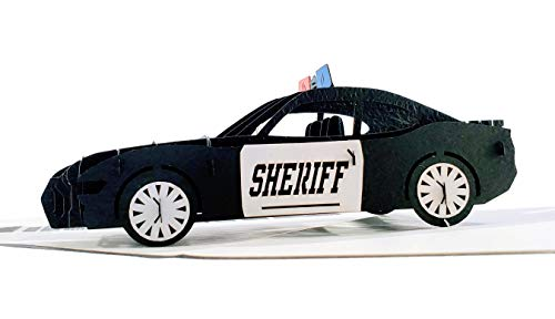 iGifts And Cards Sheriff Car 3D Pop Up Greeting Card - Protect Serve, Cruiser, Awesome, Half-Fold, Happy Birthday, Retirement, Congratulations, Training Academy Graduation, Thank You, Deputy Promotion
