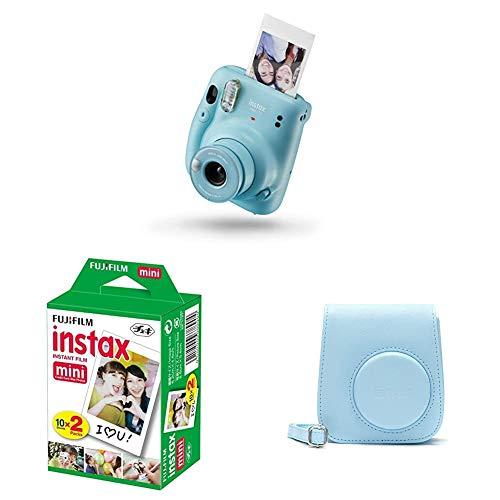 Fujifilm Instax Mini 11, Fotocamera a Sviluppo Istantaneo, Modalità Selfie, Esposizione Automatica, Foto Formato Mini 62 x 46 mm, Pellicola, Custodia, Blu (Sky Blue)