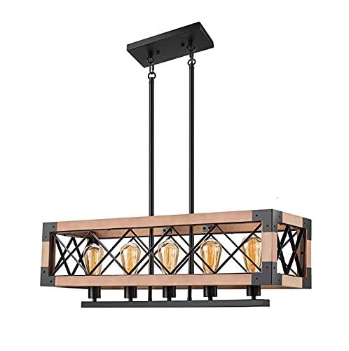 YDZB Luces colgantes Mesas de comedor de madera modernas Luces colgantes Hierro Luz de techo retro industrial Lámpara LED Sala de estar Dormitorio Cocina Lámpara de iluminación