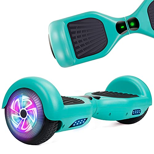UNI-SUN Hoverboard for Kids, 6.5' Two Wheel Self Balancing Hoverboards with LED Lights, Green Hover Board (No Bluetooth)