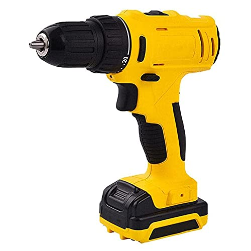 COUYY Cordless electric drill, two-dimensional lithium battery for electric drill and screwdriver, stepless speed regulation