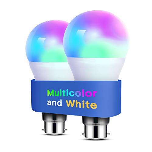 Alexa Light Bulbs WiFi Smart Bulbs B22 Bayonet [2 Pack] Compatible with Echo Alexa Google Home Dimmable Warm Light and Multicolor by Meross 810Lumens 60W