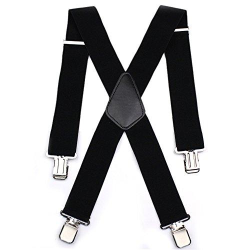 Sinbury - Bretelle a X per pantaloni da motociclista, da uomo, resistenti, regolabili, elasticizzate, robusta clip metallica 5cm black Taglia unica
