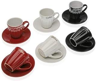 Lot de 6 Tasses Expresso, à café, avec inscription «Coffe» et leurs soucoupes assorties, 70ml.