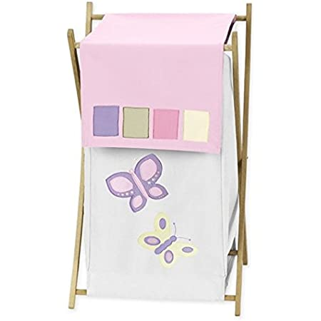 Personalized Pastel Butterfly Garland White Childrens STEP Stool with Storage Light Lavender Pastel Pink Pinks Purple Floral STEP-whi-304b