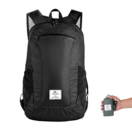 Ultralight Foldable Packable Small Hiking Daypack Backpack for Women Men by Naturehike, Lightweight 18L Waterproof Rucksack for Climbing Camping Backpacking Cycling Travel (Black)