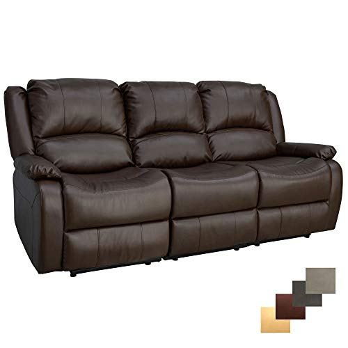 """Price comparison product image RecPro Charles Collection / 80"""" Triple Recliner RV Sofa & Drop Down Console / RV Zero Wall / Wall Hugger Recliner / RV Theater Seating / RV Furniture / RV Living Room (Slideout) Furniture / Chestnut"""