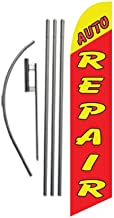 Auto Repair Advertising Feather Banner Swooper Flag Sign with Flag Pole Kit and Ground Stake, Red Yellow