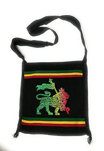 """Wigwam Coole, handgefertigte Schultertasche mit Rasta-Bob Marley-Motiv und Aufdruck """"One Love"""""""