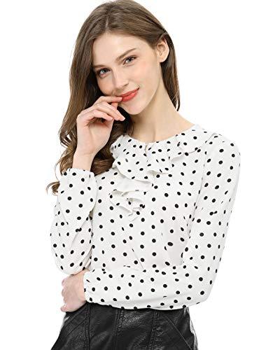 Allegra K Damen Langarm Rundhals Volant Polka Dots Top Bluse Weiß M