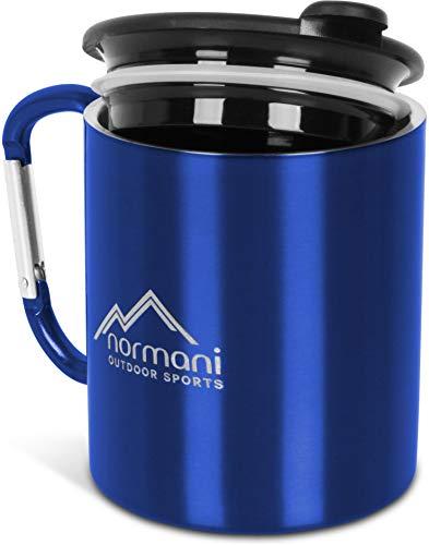normani Doppelwandige Karabinertasse 330 ml mit passendem Trinkdeckel, rostfreier Edelstahl Farbe Blue