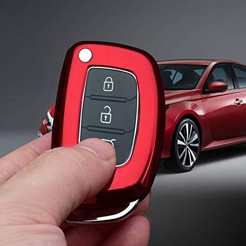 Xotic Tech Red Soft TPU Full Sealed Keyless Entry Key Fob Case Shell Protective Cover Protector Compatible with Hyundai Tucson Santa fe Elantra Creta Sonata I20 ix35 ix45 Folding Key