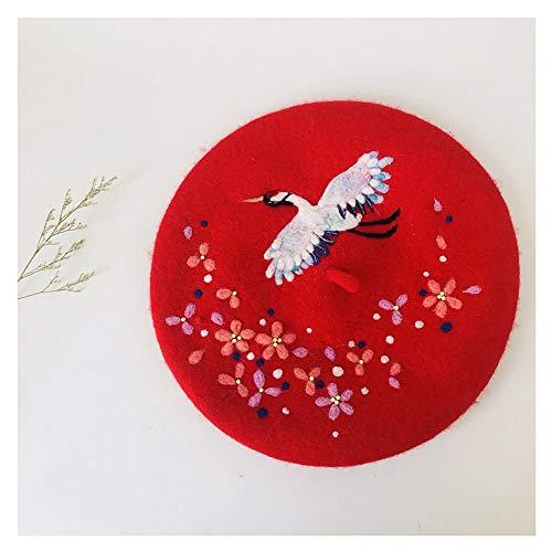 WANGZHI Original Baskenmütze, handgefertigt, für Damen, Wollfilz, Wintermütze, flache Mütze, Weihnachtsgeschenk (Farbe: Rot, Größe: 56-58 cm)