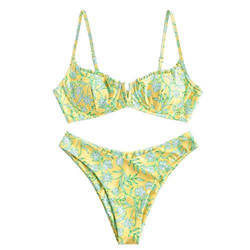 ZAFUL Zweiteiliger Bikini Set, Blumenmuster Hoch Geschnitt Bikini mit Bügel & V-Badehose für Damen (Gelb, S (EU 36))