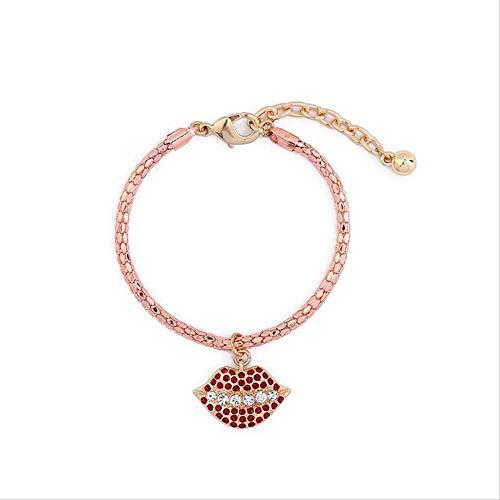 DODO.GOGO Stylish Diamond Lip Pendant Women's Retro Bracelet Accessory