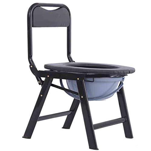 G-LXYZBQSHYP Toiletstoel voor op de nachtkastje, hoogwaardige toiletstoel van staal, met medische handicap en emmer