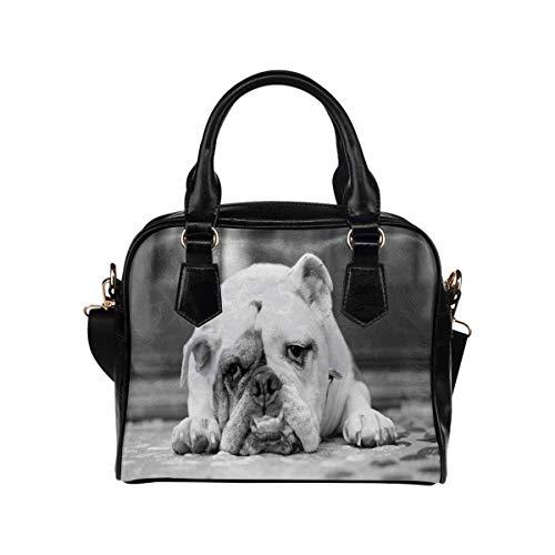 InterestPrint English Bulldog With Sad Face Custom Unique Women's PU Leather Shoulder Bags Handbags