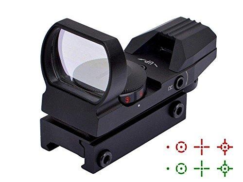Red Dot Visier Airsoft Scope Grün Leuchtpunktvisier Rotpunktvisier mit Tactical 4 Reticles für 20mm 22mm Weaver oder Picatinny Railsysteme (Schwarz)