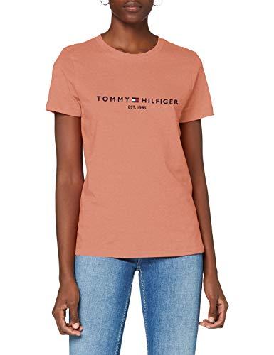 Tommy Hilfiger Damen Th ESS Hilfiger C-nk Reg Tee Ss Hemd, Clay Pink, S