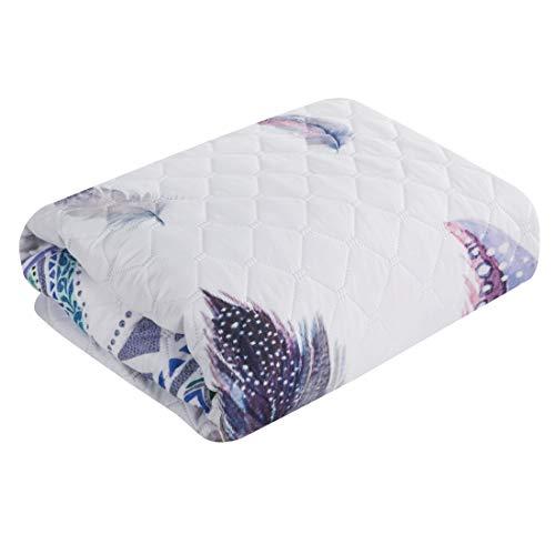 Design91 sprei, bedsprei, quilt, sprei, sprei, wit, bont, veren, zachte deken, gewatteerd, slaapkamer, woonkamer, kinderkamer, zilver, 170 x 210 cm