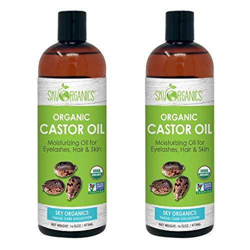 Castor Oil (16oz x 2 Pack) USDA Organic Cold-Pressed 100% Pure, Hexane-Free Castor Oil - Moisturizing & Healing, For Dry Skin, Hair Growth - For Skin, Hair Care, Eyelashes - Caster Oil By Sky Organics