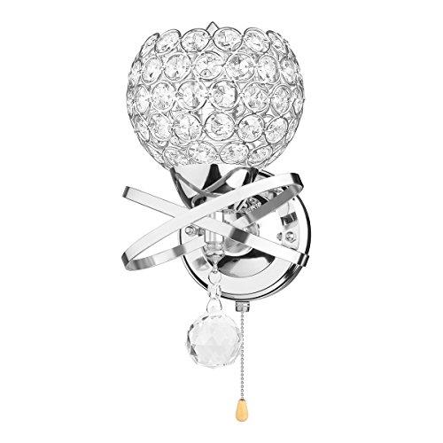 PopHMN Moderne Wandleuchte, E14 Sockel Kristall Pendelleuchte Wandleuchte Halter mit Power Pull Schalter Ideal für Schlafzimmer Wohnzimmer Flur Hotel (ohne Glühbirne)