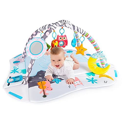 Baby Gym Play Mat Activity Center for Infants and Toddlers 7 Toys for Sensory and Motor Skill Development Language Discovery Tummy time mat Non Slip 4-in-1 Baby mats for for Newborns. 0-12 Month