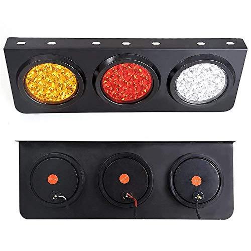 Led-achterlicht voor vrachtwagen/aanhanger met ijzeren sokkel - Waterdicht DC12-24V 44-LED achterlicht palen/Signal/Marcia voor alle vrachtwagens/campers/aanhangers