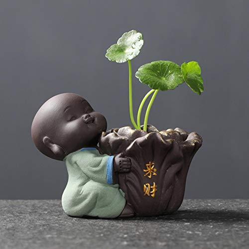OSALAD Tea De Cerámica Adornos para Mascotas Pequeña Estatua De Buda Monje Figurine Escritorio De Escritorio Maceta Hidropónica Planta Decoración De Té Accesorios