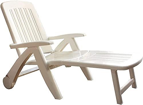 Tumbona Plegable Blanca, Tumbona de jardín 4 Posiciones de 190x72x60 cm, Tumbona de Resina reciclable de Color Blanca